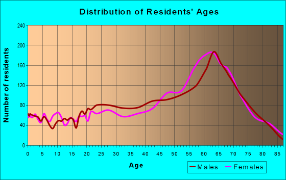 Age and Sex of Residents in zip code 29582