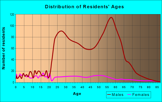 Age and Sex of Residents in zip code 32083
