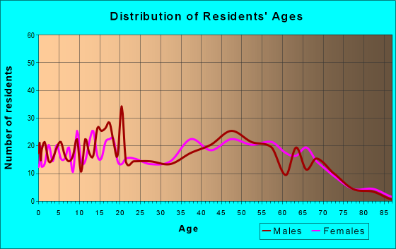 Age and Sex of Residents in zip code 37137