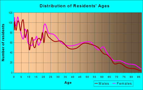 Age and Sex of Residents in zip code 37407