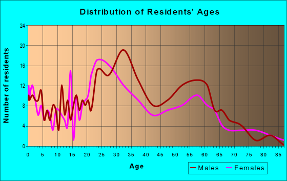 Age and Sex of Residents in zip code 37408