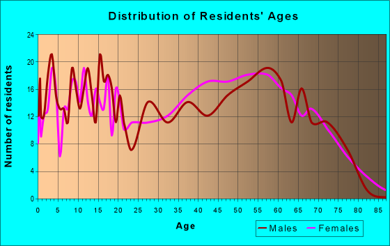 Age and Sex of Residents in zip code 37809