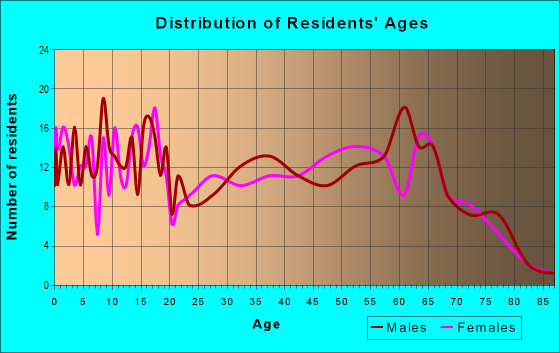 Age and Sex of Residents in zip code 38334