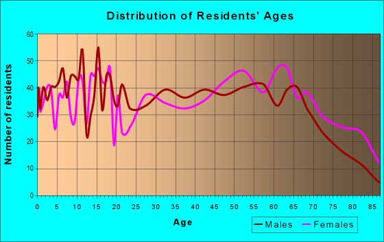 Age and Sex of Residents in zip code 38363
