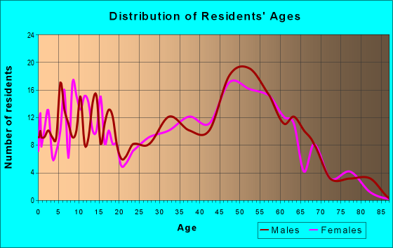 Age and Sex of Residents in zip code 40055