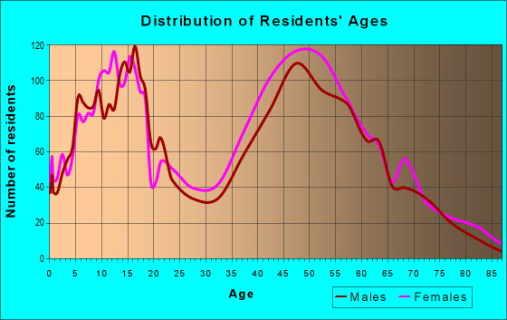 Age and Sex of Residents in zip code 40513