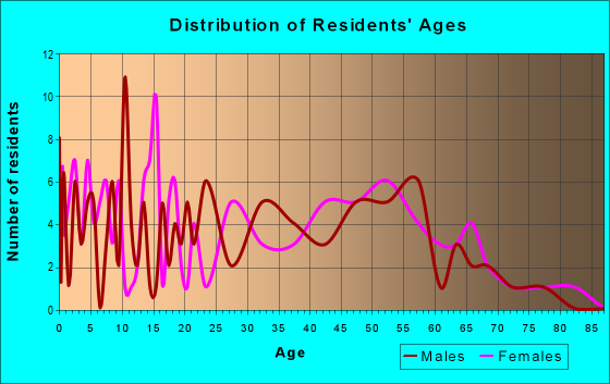Age and Sex of Residents in zip code 40862