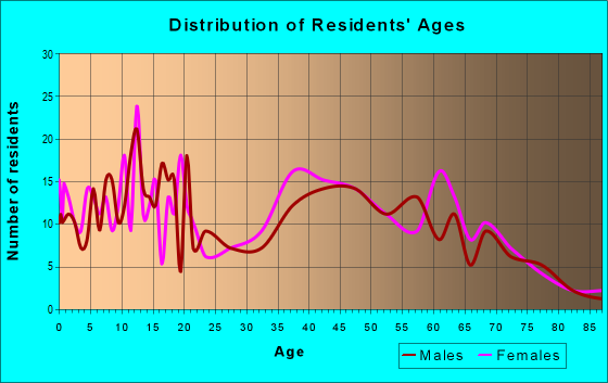 Age and Sex of Residents in zip code 41055