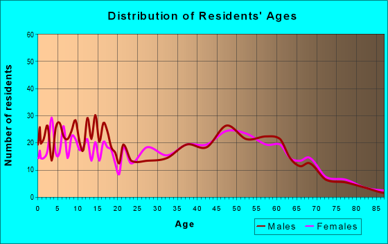 Age and Sex of Residents in zip code 43569
