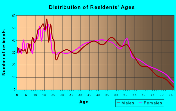 Age and Sex of Residents in zip code 43731