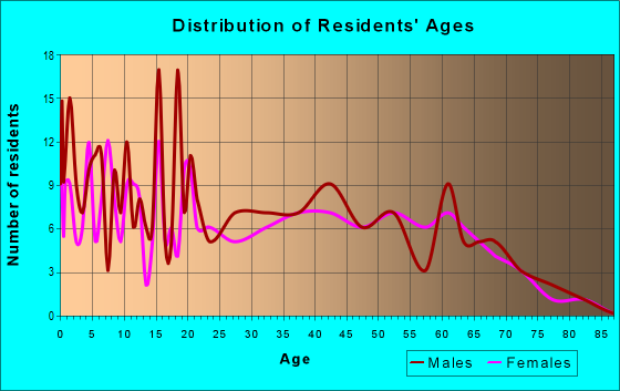 Age and Sex of Residents in zip code 43802