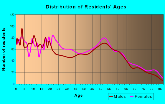 Age and Sex of Residents in zip code 44707