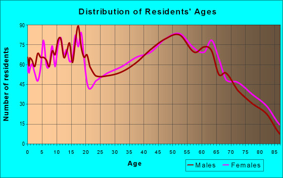 Age and Sex of Residents in zip code 46001