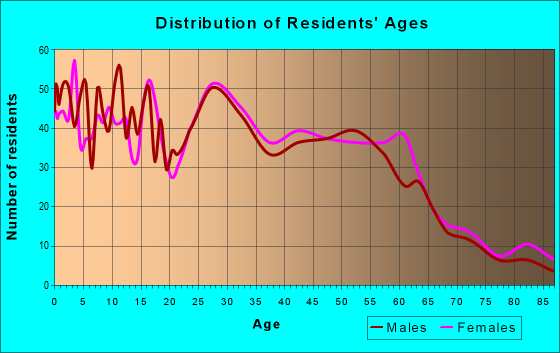 Age and Sex of Residents in zip code 46616