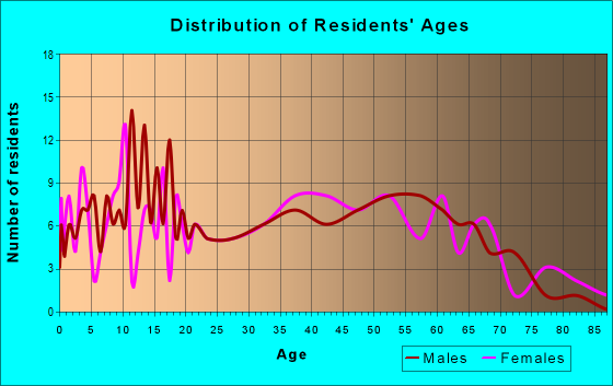 Age and Sex of Residents in zip code 47597