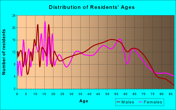 Age and Sex of Residents in zip code 47963