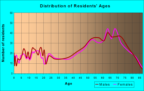 Age and Sex of Residents in zip code 48739