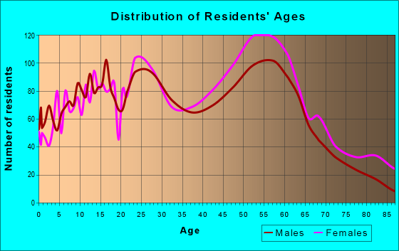 Age and Sex of Residents in zip code 48840