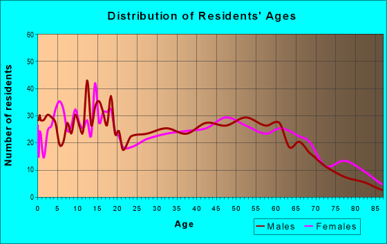 Age and Sex of Residents in zip code 49256