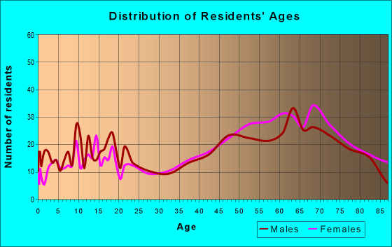 Age and Sex of Residents in zip code 49635