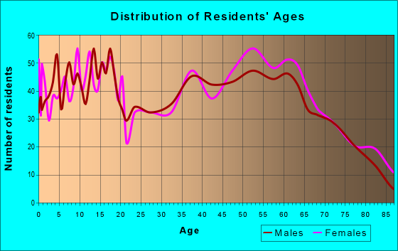 Age and Sex of Residents in zip code 49677