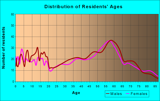 Age and Sex of Residents in zip code 49807