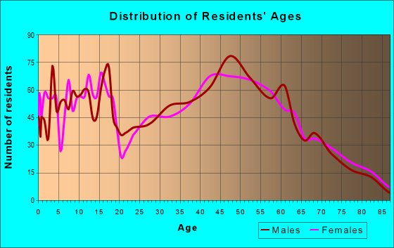 Age and Sex of Residents in zip code 53040