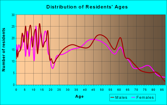 Age and Sex of Residents in zip code 54028