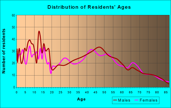 Age and Sex of Residents in zip code 54107