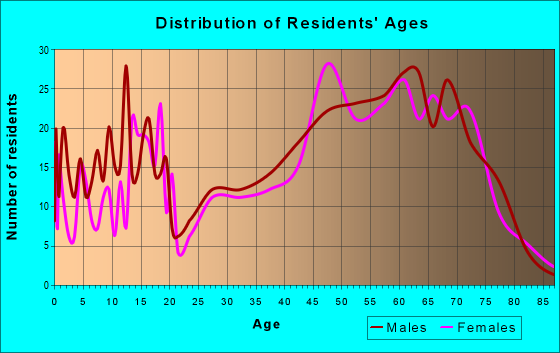 Age and Sex of Residents in zip code 54873