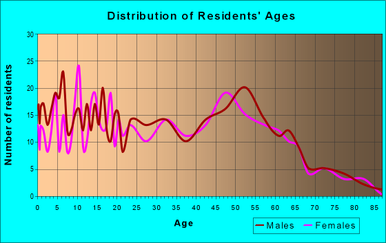 Age and Sex of Residents in zip code 55031