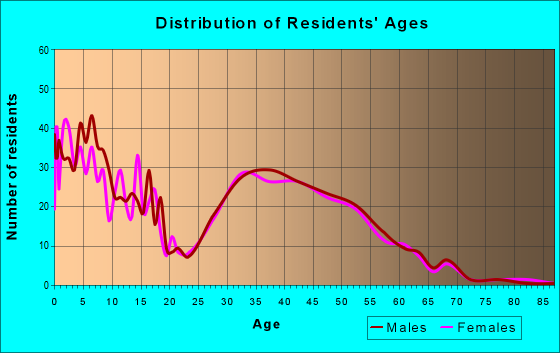 Age and Sex of Residents in zip code 55341
