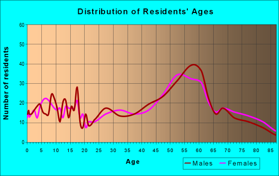 Age and Sex of Residents in zip code 55741