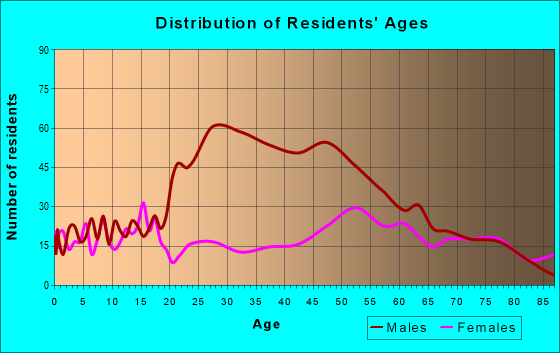 Age and Sex of Residents in zip code 55767