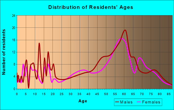 Age and Sex of Residents in zip code 55775