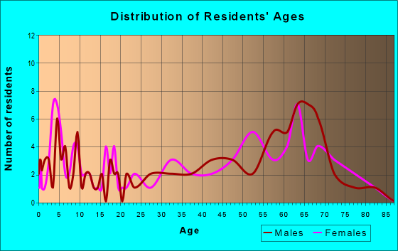 Age and Sex of Residents in zip code 55787