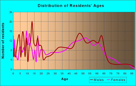 Age and Sex of Residents in zip code 55797