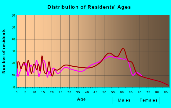Age and Sex of Residents in zip code 56063