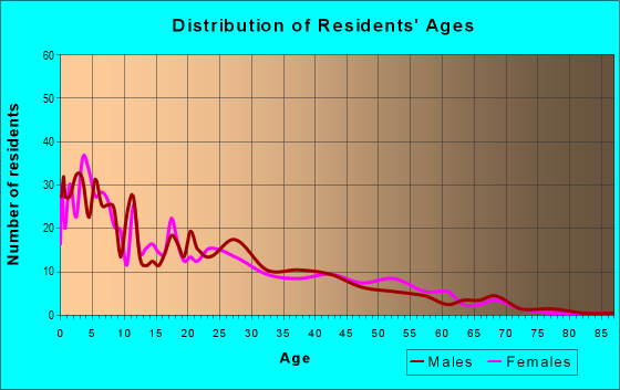 Age and Sex of Residents in zip code 58335