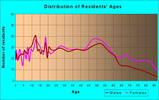 Age and Sex of Residents in zip code 60456