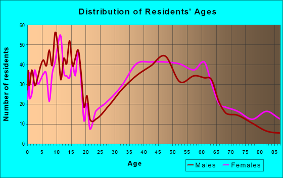 Age and Sex of Residents in zip code 62684