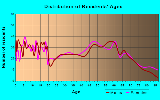 Age and Sex of Residents in zip code 63456