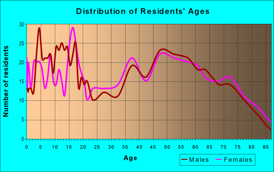 Age and Sex of Residents in zip code 63638