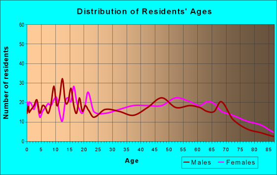 Age and Sex of Residents in zip code 63822