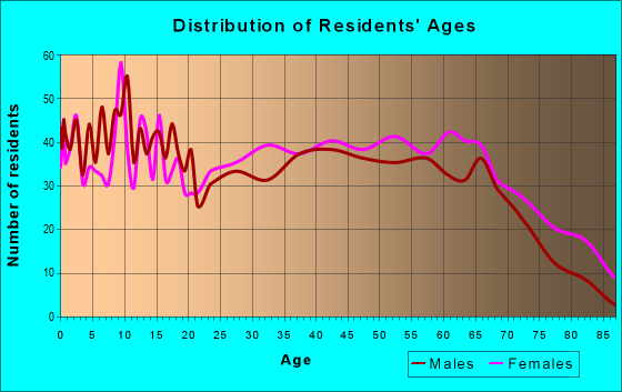 Age and Sex of Residents in zip code 63845