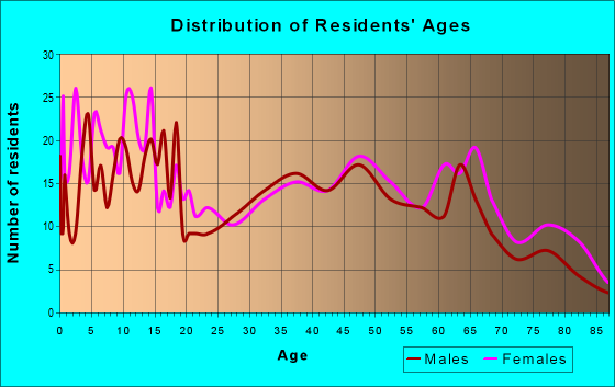Age and Sex of Residents in zip code 63876