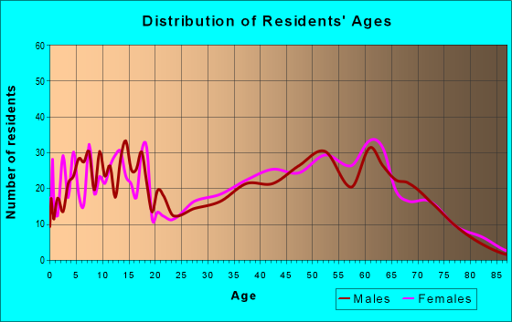 Age and Sex of Residents in zip code 65052