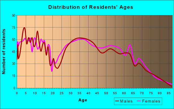 Age and Sex of Residents in zip code 65619