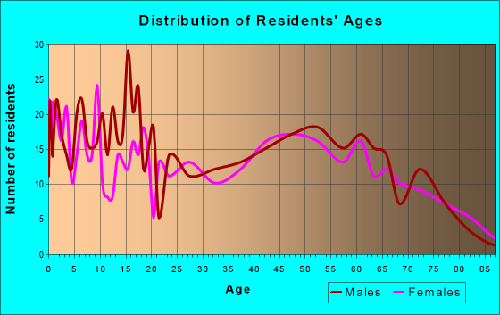 Age and Sex of Residents in zip code 65707