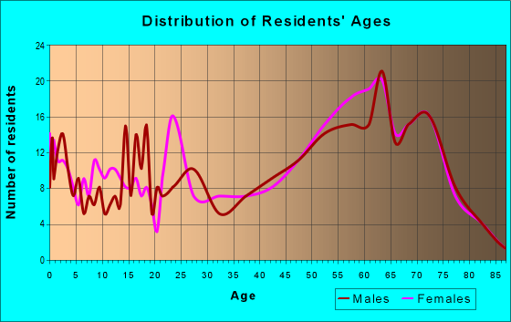 Age and Sex of Residents in zip code 65787